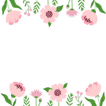 Spring frame with flowers and twigs with space for text in the center. Simple plants, childrens drawing for templates, postcards, flyers and designs, vector
