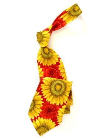 Fashion flower necktie displayed on white background