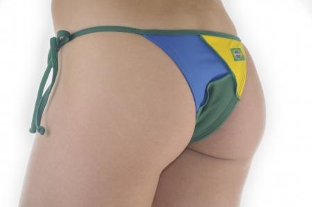 bikini butt: Yellow-green bikini bottom