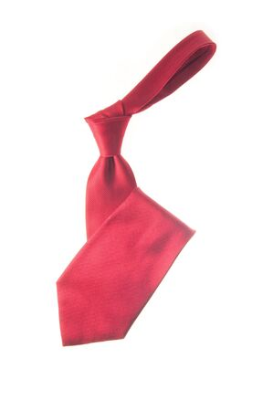 Silk red necktie isolated over white background Stock Photo