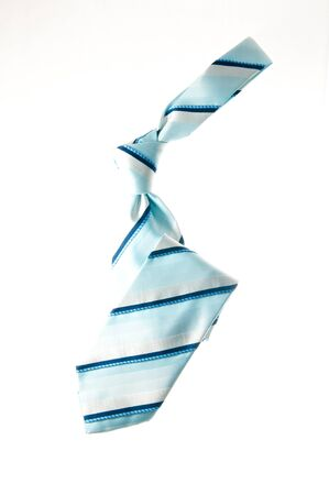 Silk blue necktie isolated over white background