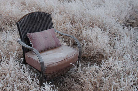 antique chair: Peaceful empty chair in the winter frosted nature Stock Photo