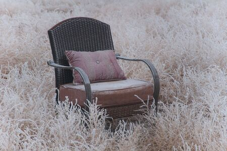 frosted: Peaceful empty chair in the winter frosted nature Stock Photo