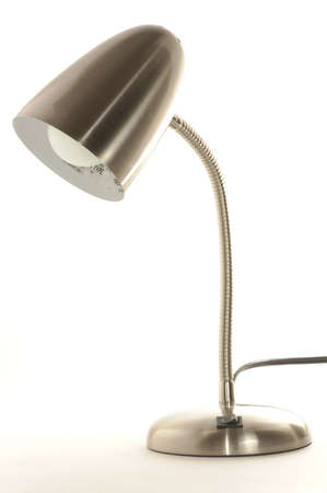 bedside: Stainless steel lamp isolated on white