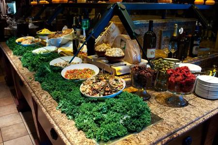 Brazilian steakhouse fine dining gourmet salad bar table