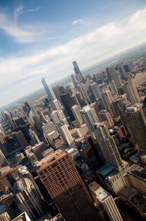 Downtown Chicago buildings viewed from above during sundown photo