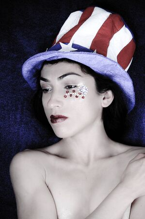 Beautiful model representing the patriotic colors of the United States of America photo