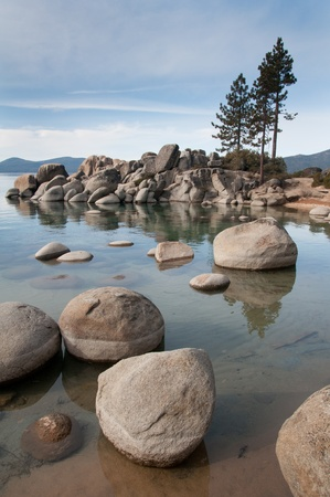 Beautiful landscape during winter time at the Lake Tahoe shore in California photo