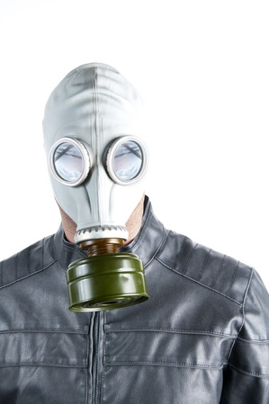 Men wearing a biker jacket and gas mask simbolizing danger in the environment Stock Photo - 11998499