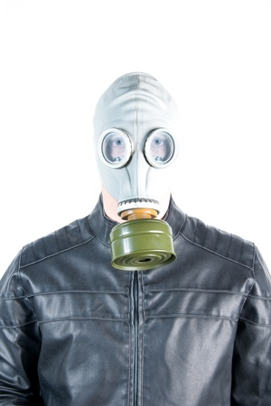 Men wearing a biker jacket and gas mask simbolizing danger in the environment Stock Photo - 11998491