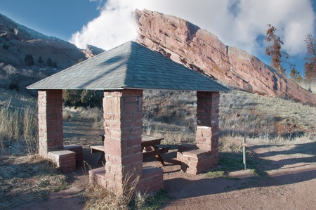 Red brick picnic kiosk at the mountain park photo
