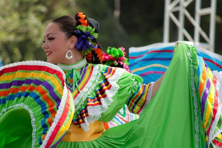 culture: Orange County, CA, USA - July 2010  Mexican dancers performing in traditional latin american costumes Editorial