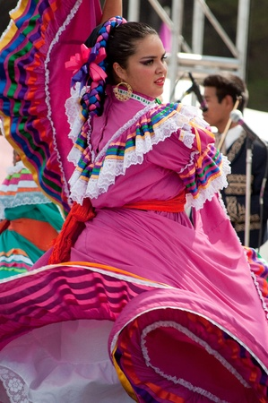 Orange County, CA, USA - July 2010  Mexican dancers performing in traditional latin american costumes