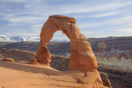 Delicate Arch Rock formation at the Moab desert in Utah photo