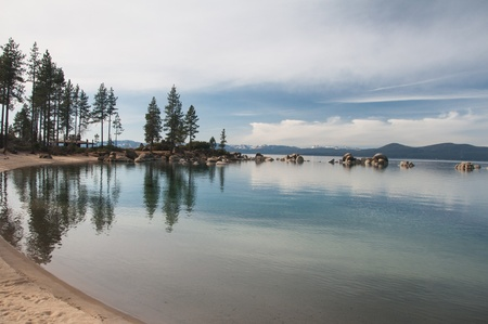 Beautiful landscape during winter time at the Lake Tahoe shore in California