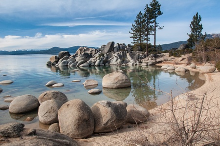 Beautiful landscape during winter time at the Lake Tahoe shore in California Stock Photo - 13103434