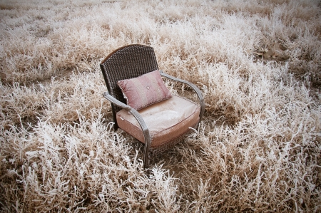 Vintage chair ona morning frost after a night of snow photo
