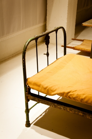 Old style historic vintage military bunker bed
