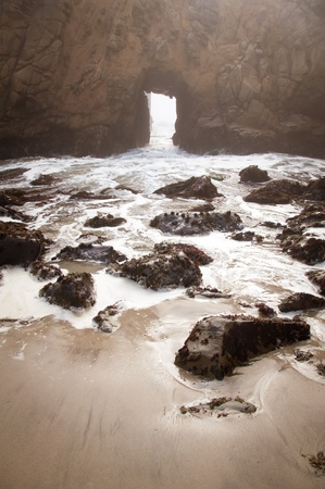 California Big Sur rock formations by the beach photo