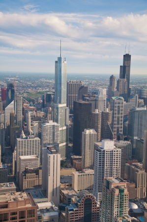 sears: Downtown Chicago buildings viewed from above during sundown Stock Photo