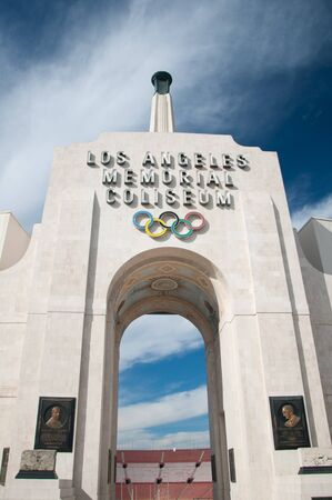 olympic ring: LOS ANGELES - OCTOBER 17: Memorial Coliseum is site of many landmark events including two summer Olympics the latest in 1984. The landmark building may become obsolete. October 17, 2011, Los Angeles