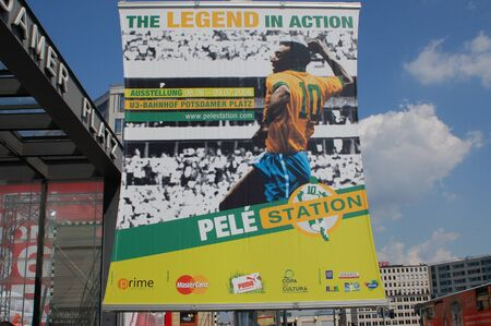 BERLIN, GERMANY - JUNE 7TH  Sponsor displays in the World Cup Pelestation Exhibition, featuring the Soccer Legend Pele on June 7th, 2006