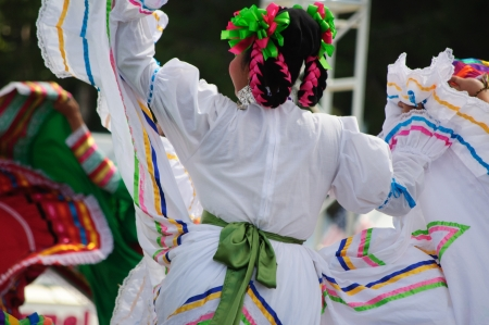 vestuario: Orange County, CA, USA - July 2010  Mexican dancers performing in traditional latin american costumes Editorial