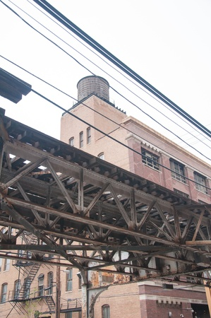Old style suspended train track in downtown Chicago photo