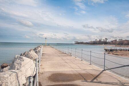 huntington beach: Ocean side beach pier under brigh blue sky Stock Photo