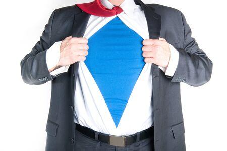 Business man tearing shirt to become a superhero Stock Photo - 15606508