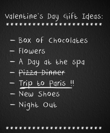 checklist: Valentines day checklist with gift ideas for her Stock Photo