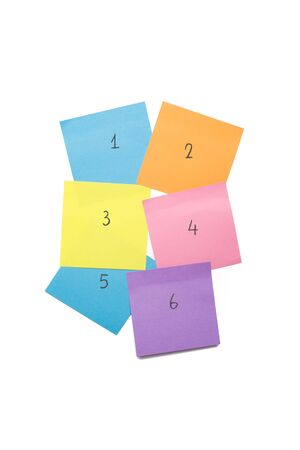 pin board: Colorful stick note post it to be used as a reminder note and symbolizing numbers