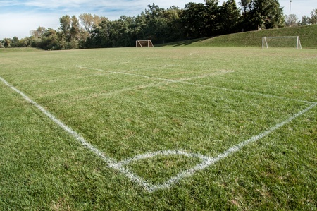 Soccer corner on college American football field photo