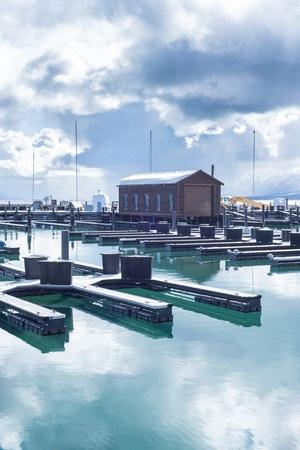 Lake Tahoe marina travel location during winter