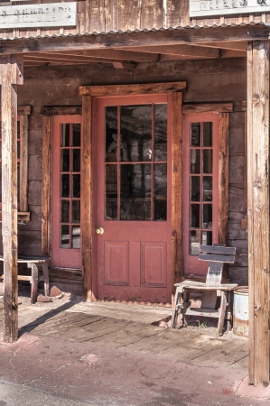 western wall: Old West Vintage Saloon Door in a ghost town in California
