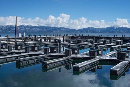 travel location: Lake Tahoe marina travel location during winter Stock Photo