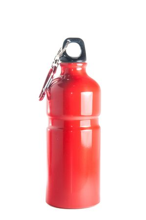 canteen: Red metal resusable, environment safe,sports bottle isolated over white background