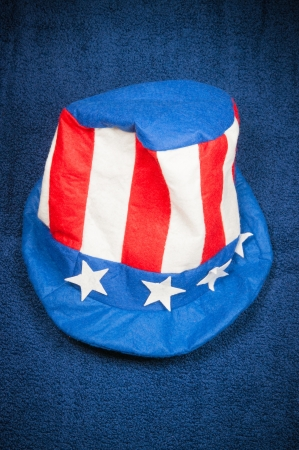Red, white and blue Uncle Sams hat symbolizing the United States of America and the fourth of July celebration