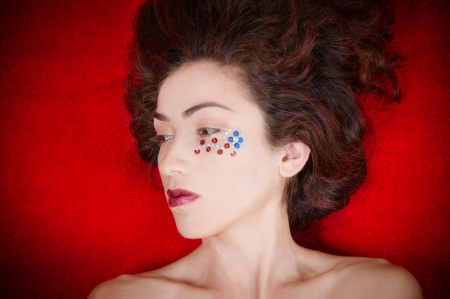 Beautiful model representing the patriotic colors of the United States of America