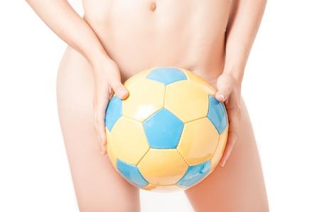 brazilian flag: Beautiful legs Brazilian model  nude holding a ball