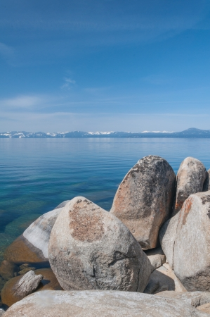 nevada: Beautiful landscape during winter time at the Lake Tahoe shore in California