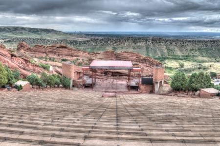 Die Red Rocks Amphitheater lanscape Formationen in Denver Colorado Standard-Bild - 21819693