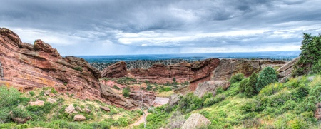 The Red Rocks Amphitheater lanscape formations  in Denver Colorado