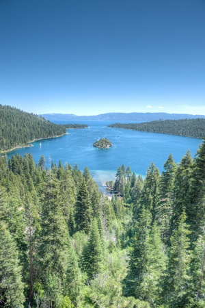 tahoe: Lake Tahoe Emerald bay Island on a beautiful sunrise on the mountains representing summer vacations Stock Photo