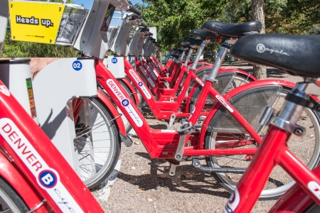 DENVER- SEPTEMBER 28  Citi Bike docking station on September 28, 2013 in Denver  Bike Sharing is a non-profit  that operates  to promote health, quality of life and preservation of the environment