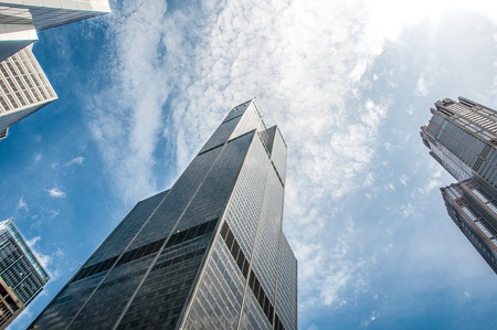 hancock building: Sears Willis tower under bright blue sky and cluds Stock Photo