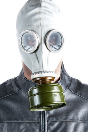 Men wearing a biker jacket and gas mask simbolizing danger in the environment