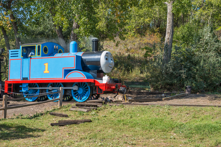 colorado railroad museum: SEPTEMBER 28, 2014- GOLDEN, CO:Thomas the Tank Engine chugging into the Colorado Railroad Museum for the annual Day Out With Thomas event.