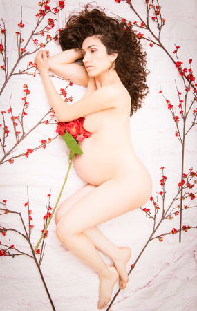 Beautiful mother to be pregnant model laying on pink bed with red flowers photo