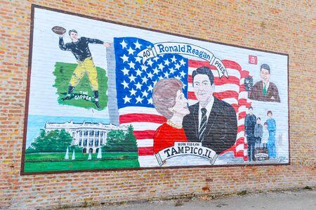 APRIL 23, 2009 - TAMPICO, IL:President Ronald Reagan mural in his hometown of Tampico, Illinois Editorial